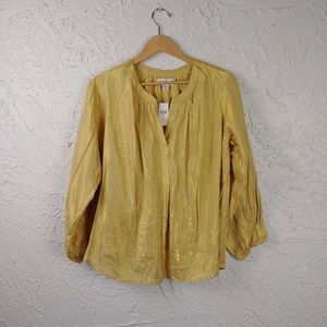 Antropologie Gold Carla Loose Gathered Blouse